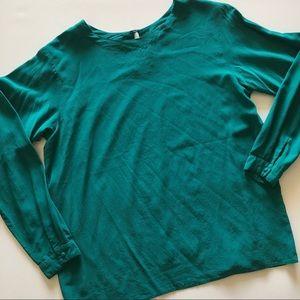 Oscar de la Renta Vintage Jade green silk blouse L